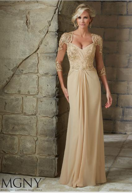 MGNY for Morilee - 3/4 Sleeve Beaded Chiffon Gown
