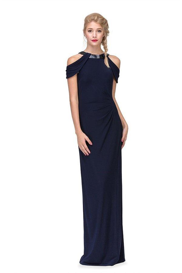 Fashion Eureka - Jersey Gown Bead Trim Halter Neck