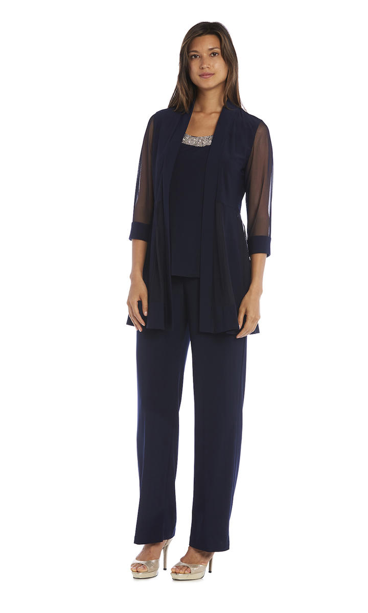 R & M Richards - 2 Piece Pant Mock Jacket Sheer Long Sleeve