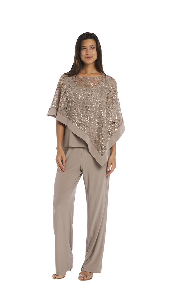 Two Piece Pant Set Metallic Lace Top
