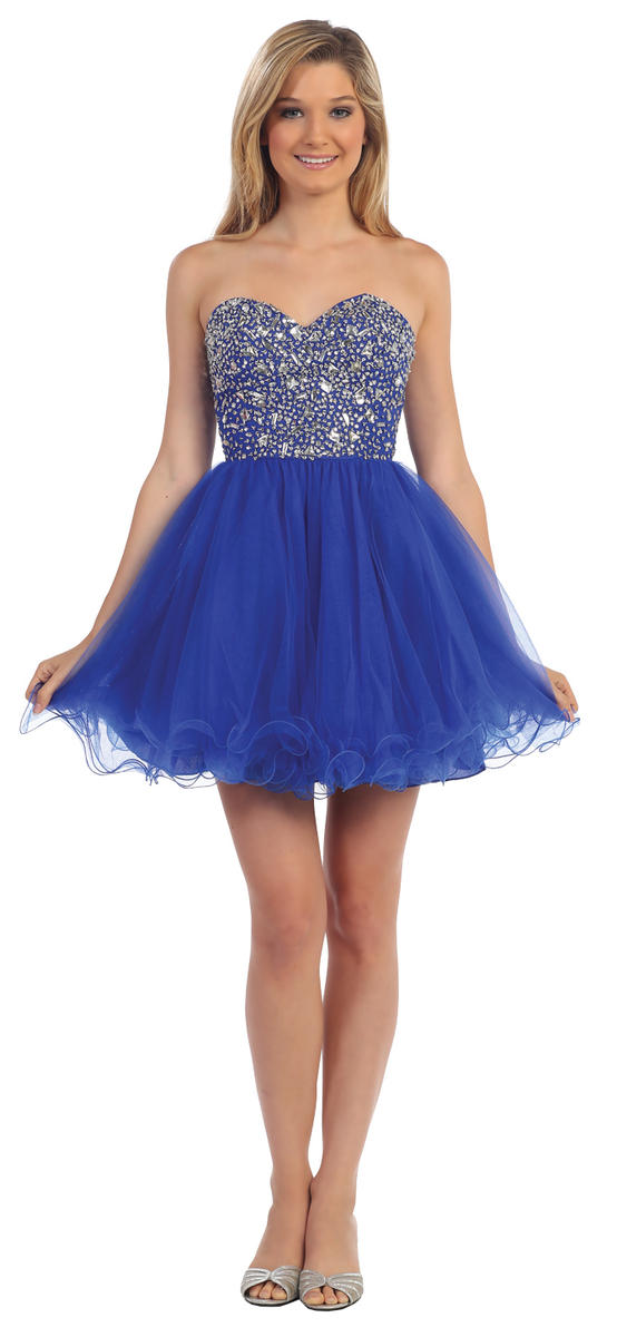 Dancing Queen - Strapless Beaded Fit & Flare Dress