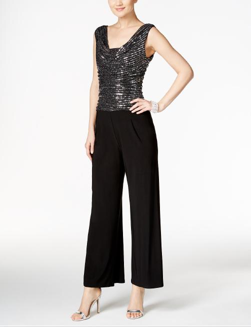 R & M Richards - Jersey Jumpsuit Mettalic Bodice
