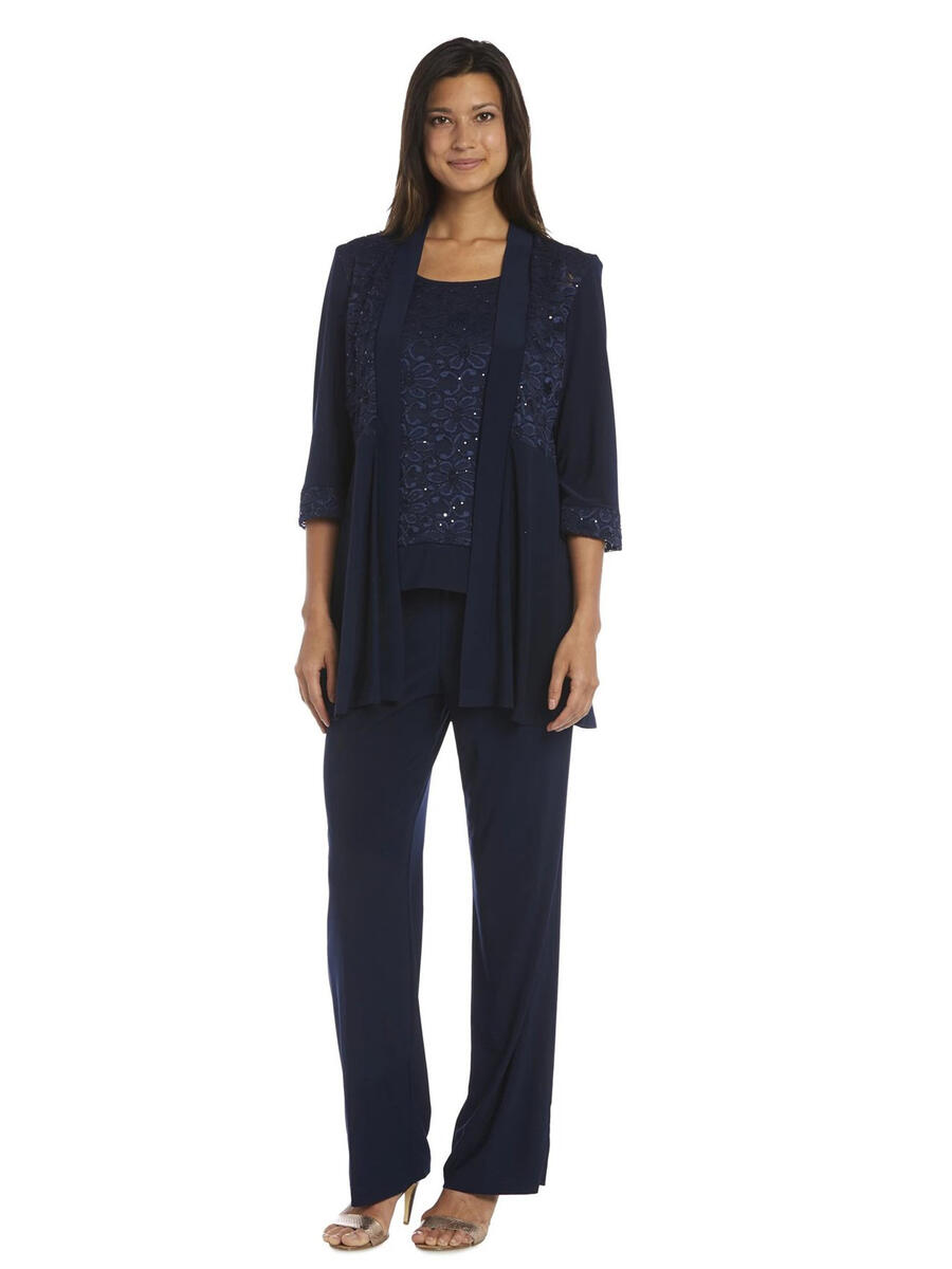 R & M Richards - 2 Piece Pantsuit/MockCamisole/Jacket