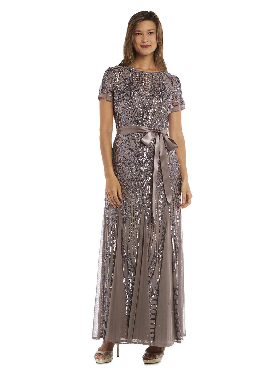 R & M Richards - Mesh Sequin Short Sleeve Gown