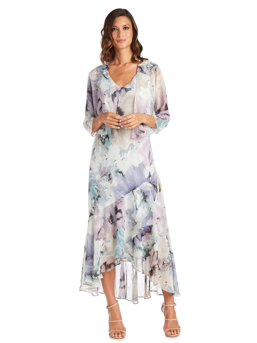 R & M Richards - Two Piece Chiffon Print Metallic Gown