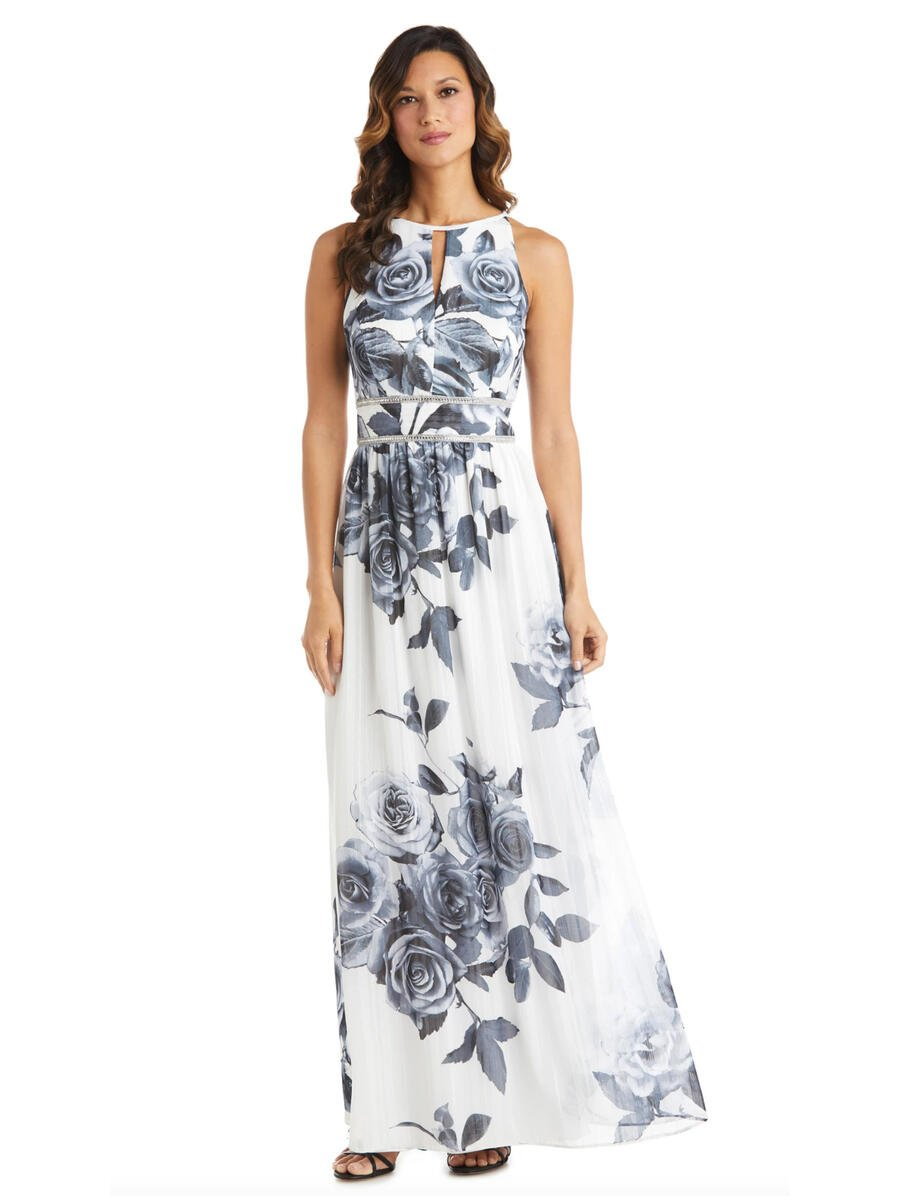 R & M Richards - Chiffon Print Gown