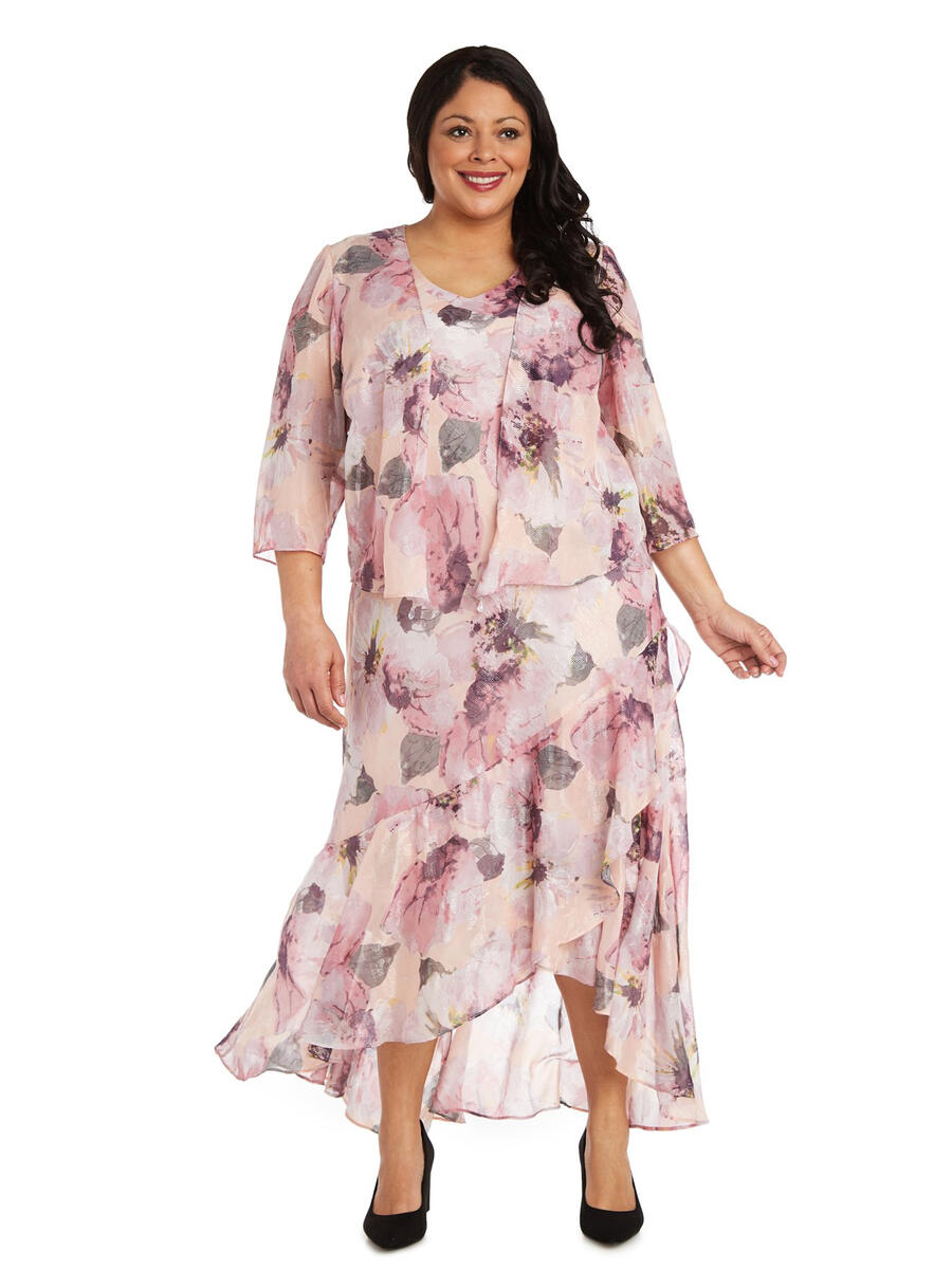 R & M Richards - Two Piece Chiffon Gown Long Sleeve Jacket