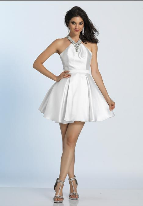 Dave and Johnny - Satin Halter Neck Fit & Flare Dress