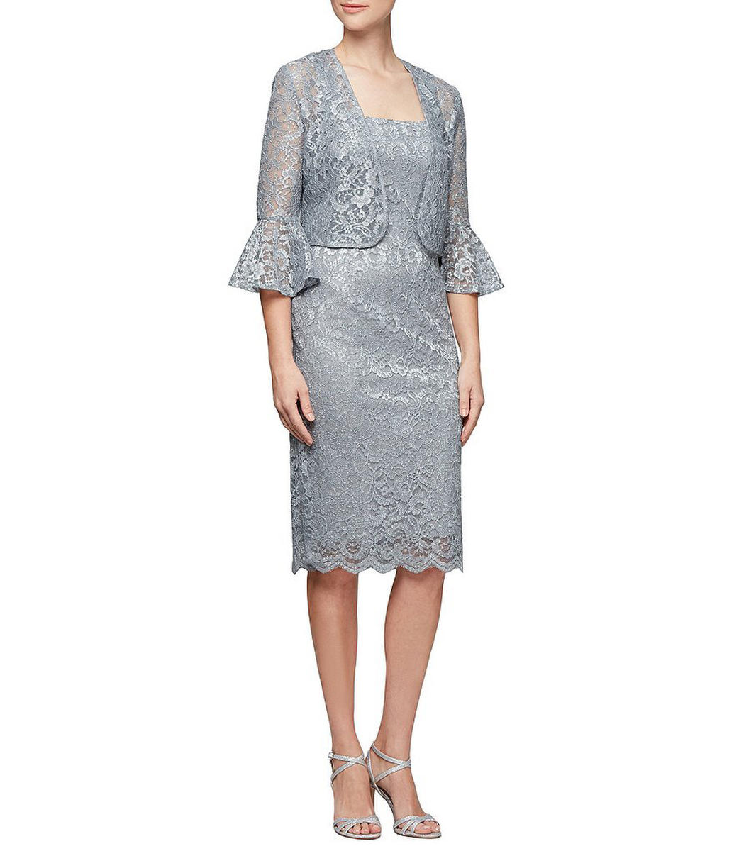 ALEX APPAREL GROUP INC - Metallic Lace Sheat Dress with Bell Sleeve Jacket