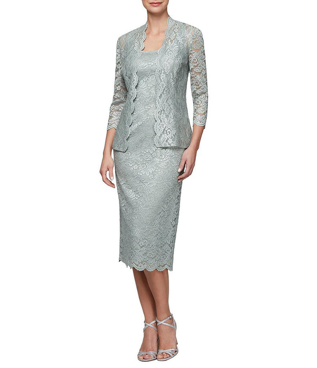 ALEX APPAREL GROUP INC - Metallic Lace Dress with Jacket