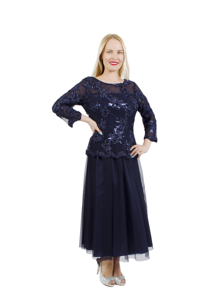 ALEX APPAREL GROUP INC - Sequined Lace Illusion Dress
