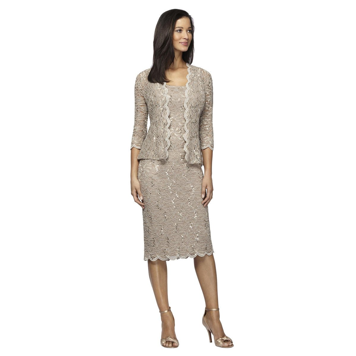 ALEX APPAREL GROUP INC - Sequined Lace Sheath Dress with Jacket