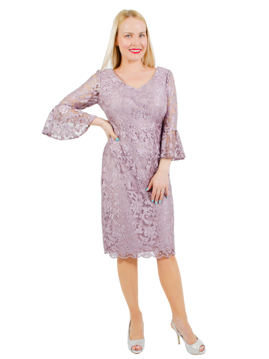 ALEX APPAREL GROUP INC - Embroidered Bell Sleeve Cocktail Dress