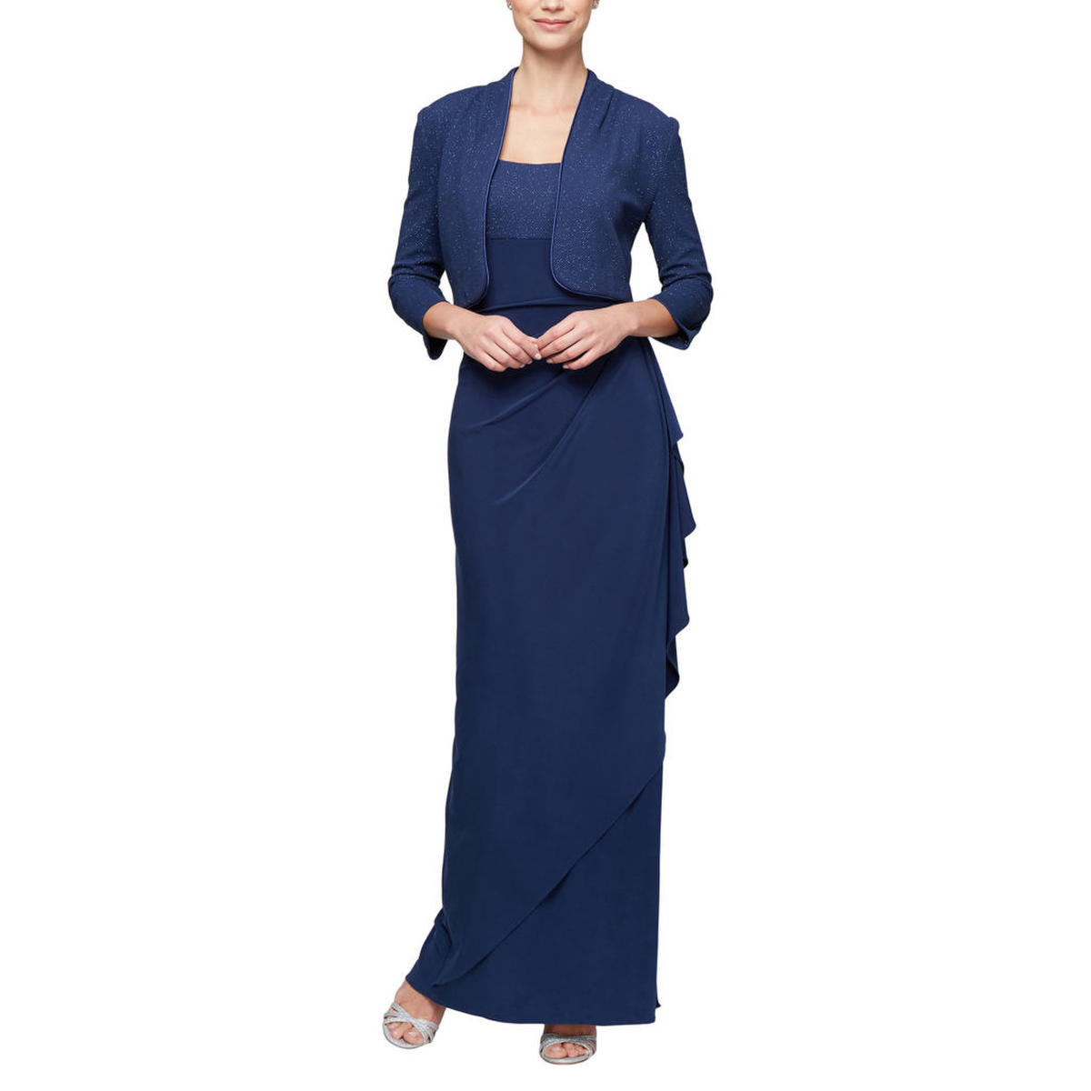 ALEX APPAREL GROUP INC - Glitter Embellished Wrap Gown with Jacket