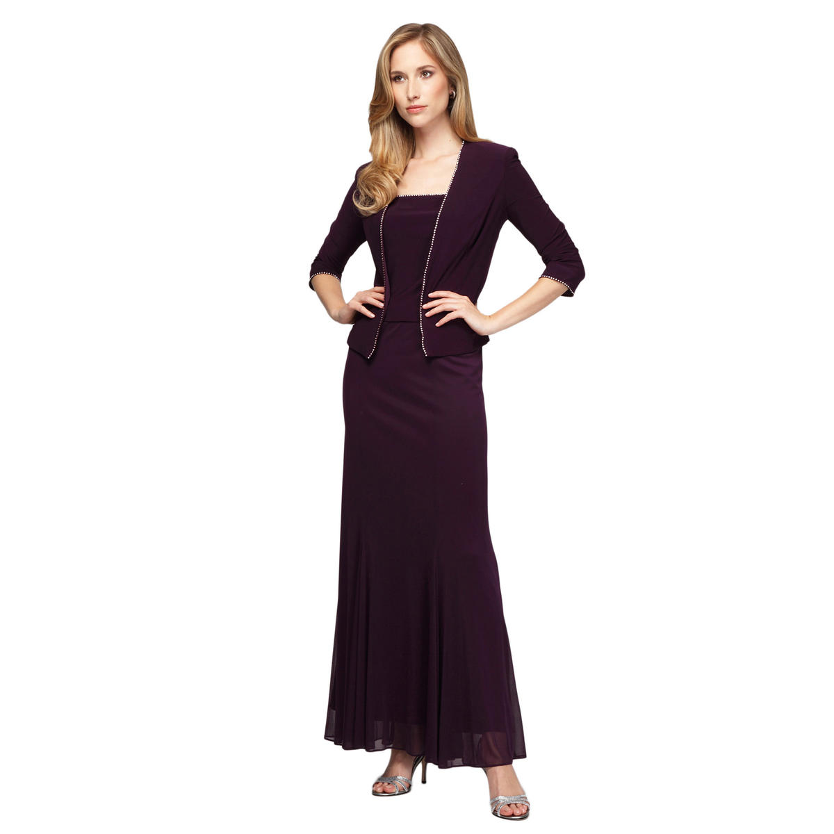ALEX APPAREL GROUP INC - Sleeveless Chiffon Gown with Jacket