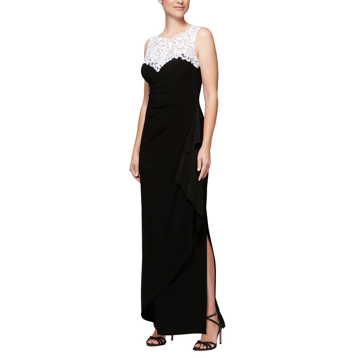 ALEX APPAREL GROUP INC - Jersey & Lace Wrap Waist Gown