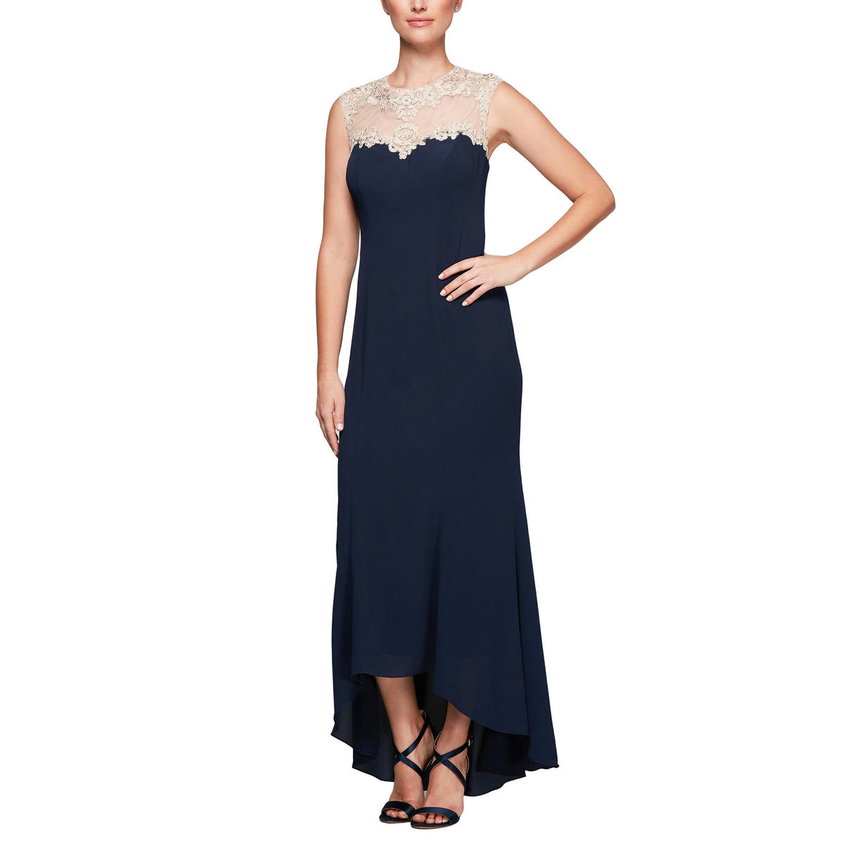 ALEX APPAREL GROUP INC - High-Low Illusion Crepe Gown