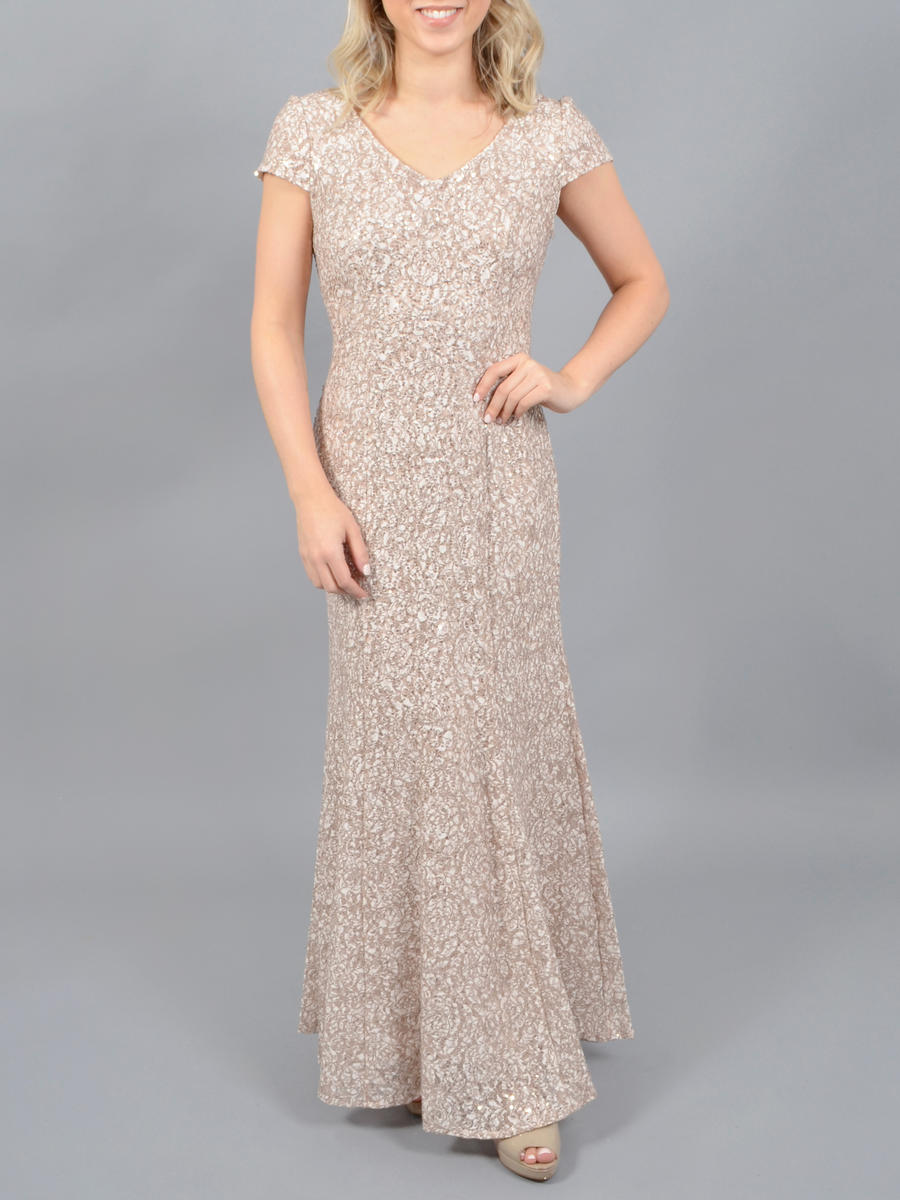 ALEX APPAREL GROUP INC - Lace Metallic Short Sleeve Gown