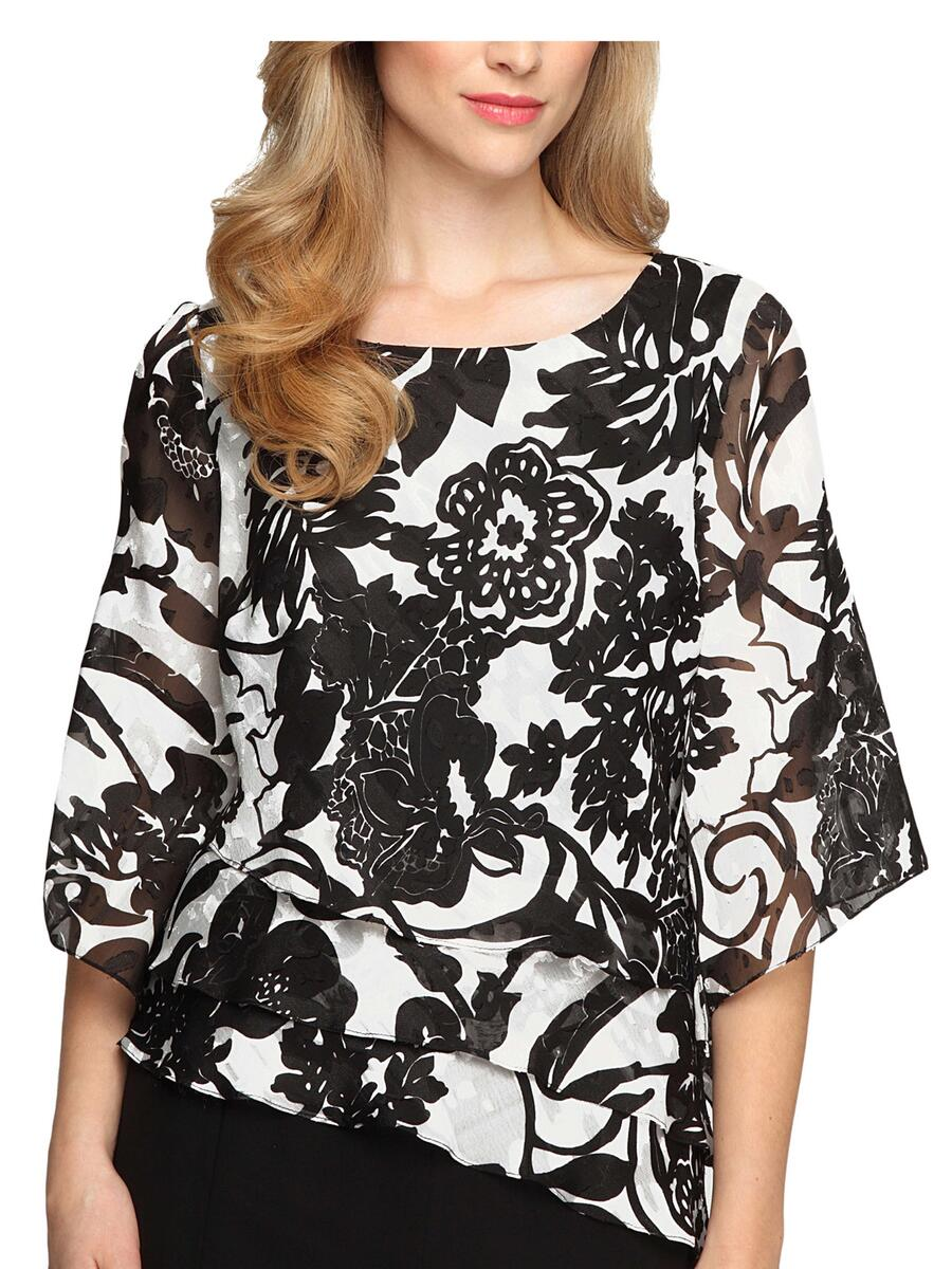 ALEX APPAREL GROUP INC - Floral Print Tiered Asymmetrical Blouse 375427