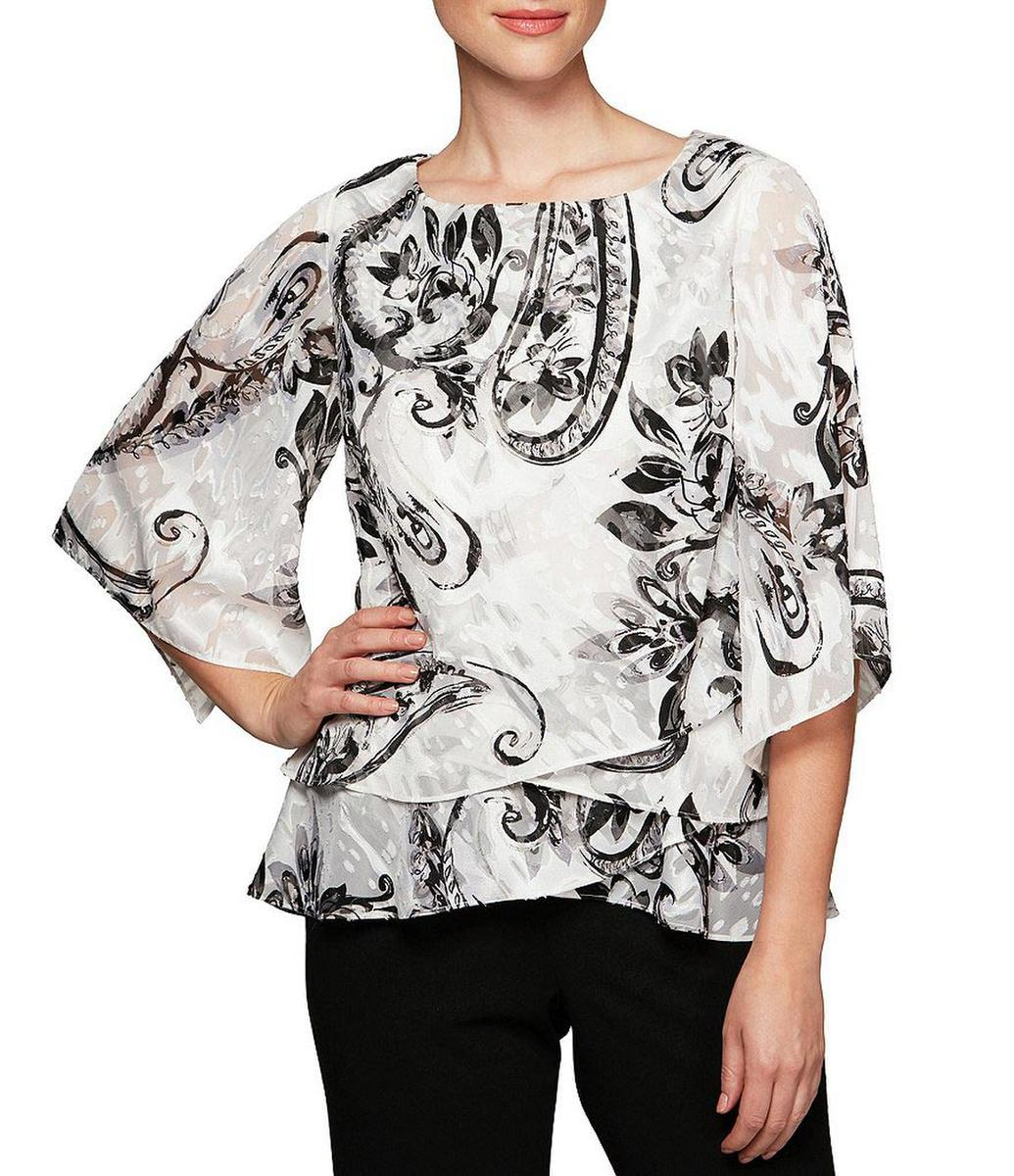 ALEX APPAREL GROUP INC - Floral Print Tiered Asymmetrical Blouse