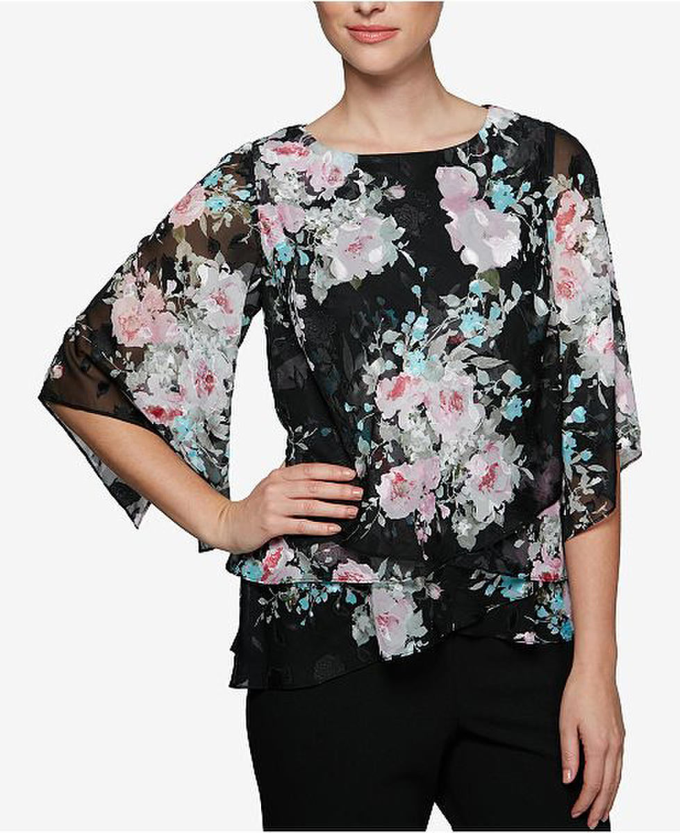 ALEX APPAREL GROUP INC - Tiered Floral Print Asymmetrical Top