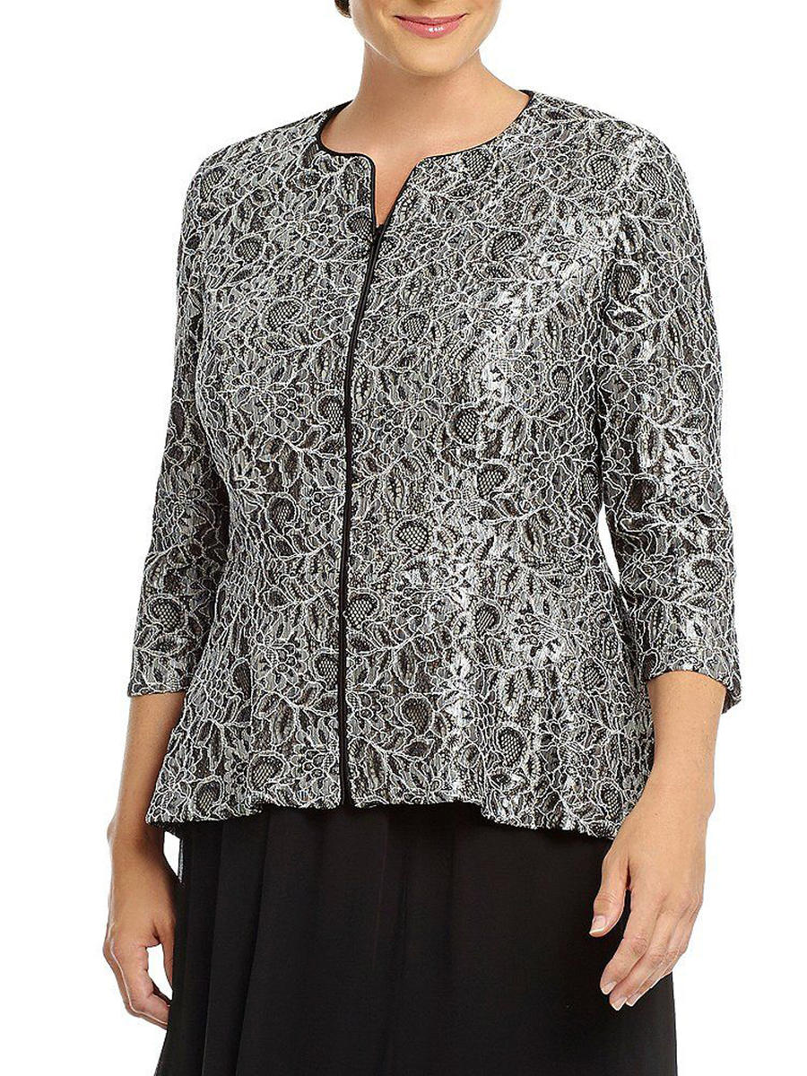 ALEX APPAREL GROUP INC - Long Sleeve Metallic Lace Zip Jacket