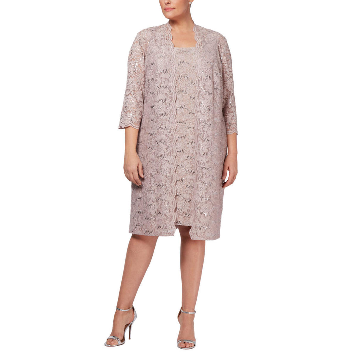 ALEX APPAREL GROUP INC - Plus Size Sequined Lace Dress & Duster Jacket