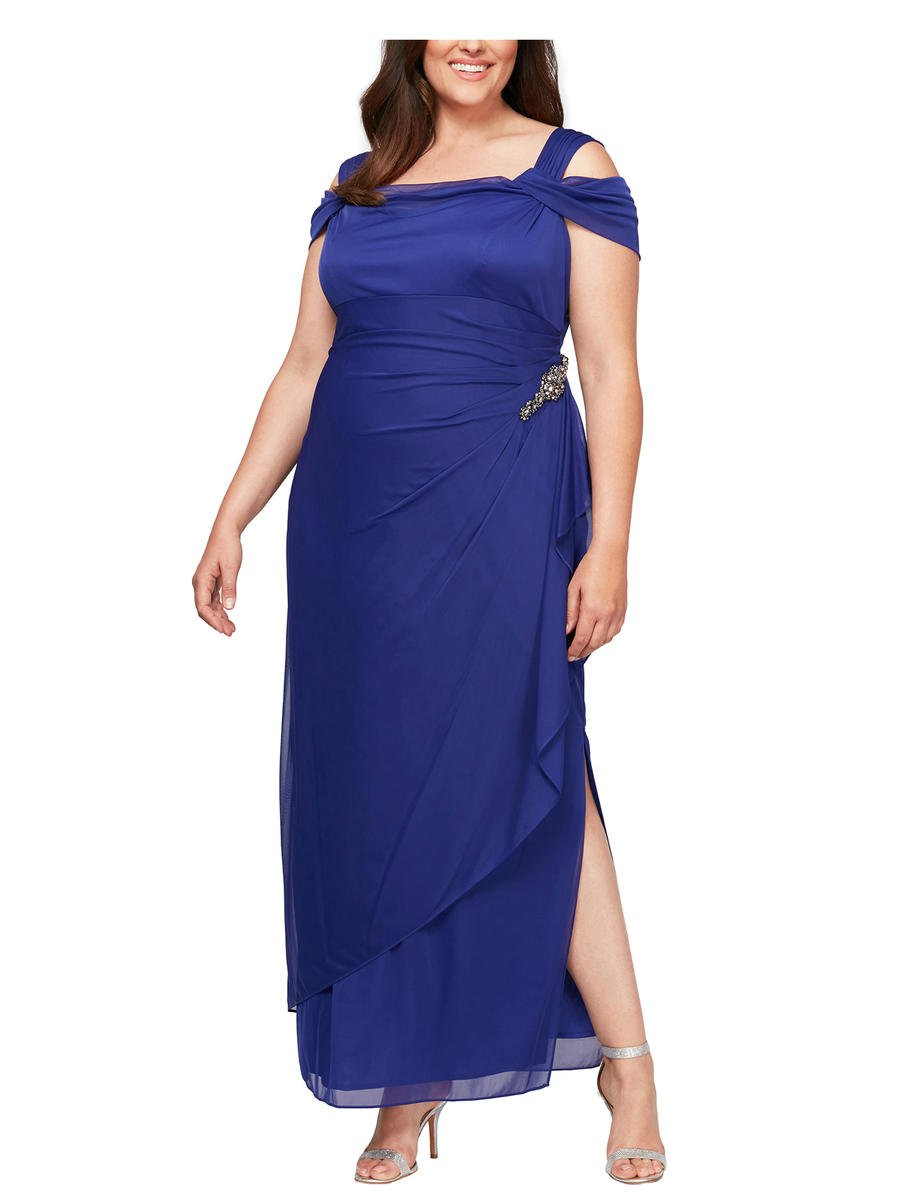 ALEX APPAREL GROUP INC - Chiffon Gown-Draped Neck
