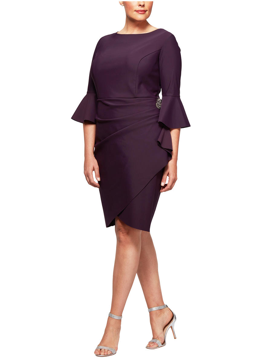 ALEX APPAREL GROUP INC - Long Sleeve Jersey Dress-Wrap Waist