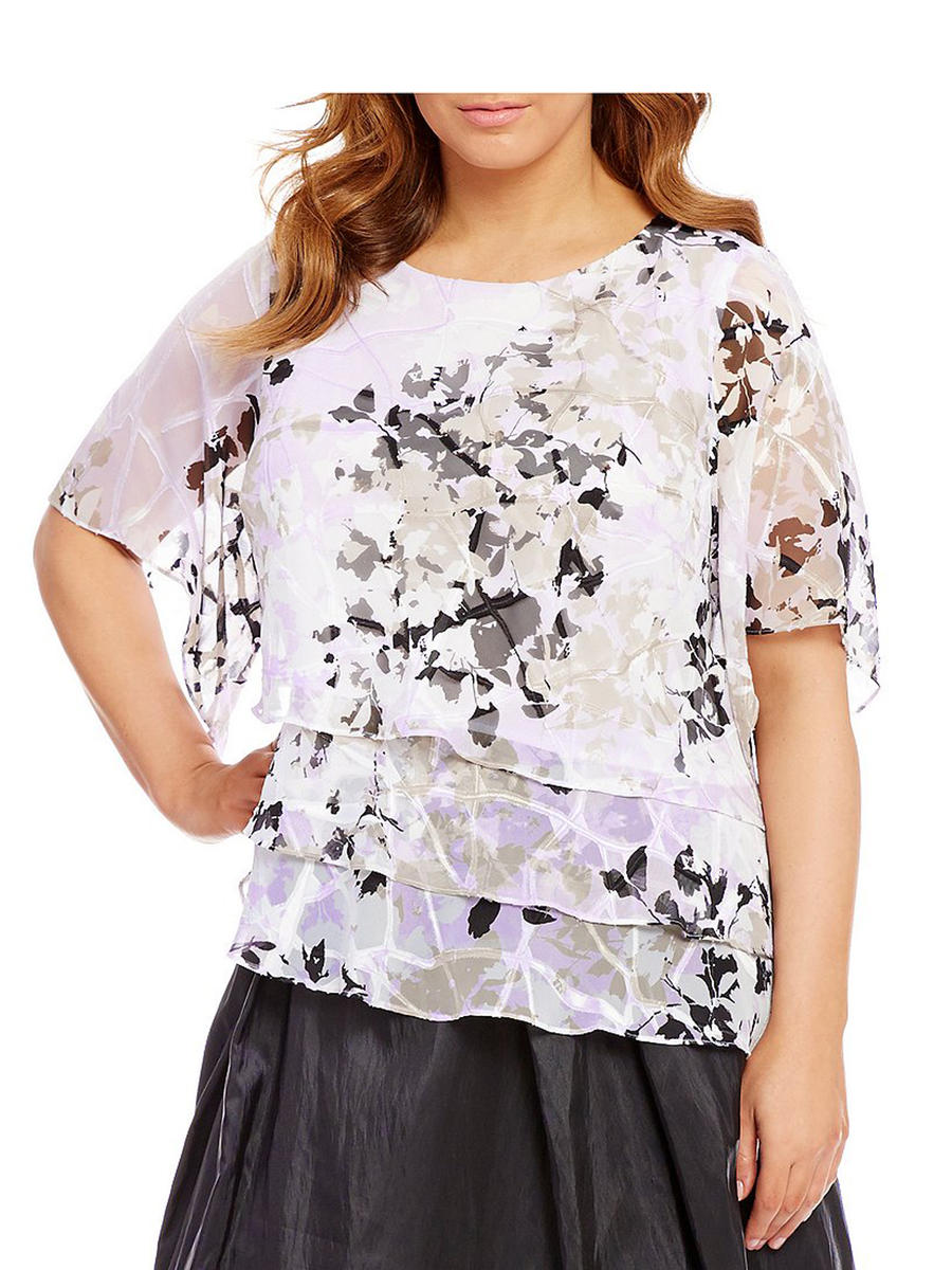 ALEX APPAREL GROUP INC - Long Sleeve Print Chiffon Top