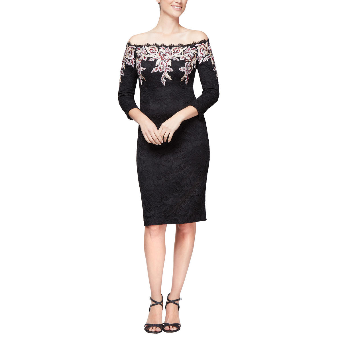 ALEX APPAREL GROUP INC - Embroidered Off-the-Shoulder Cocktail Dress