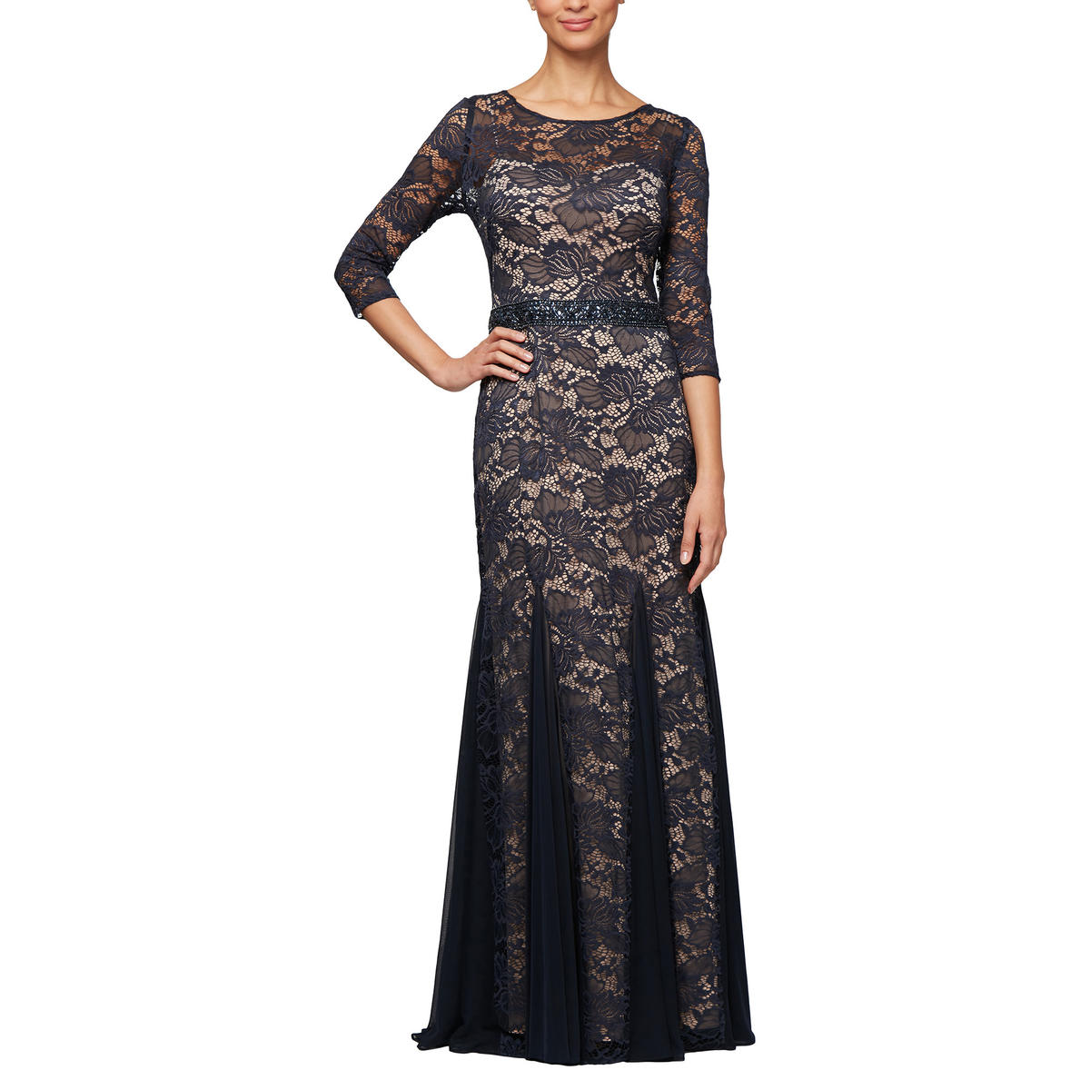 ALEX APPAREL GROUP INC - Long Sleeve Lace Gown-Bead Waist