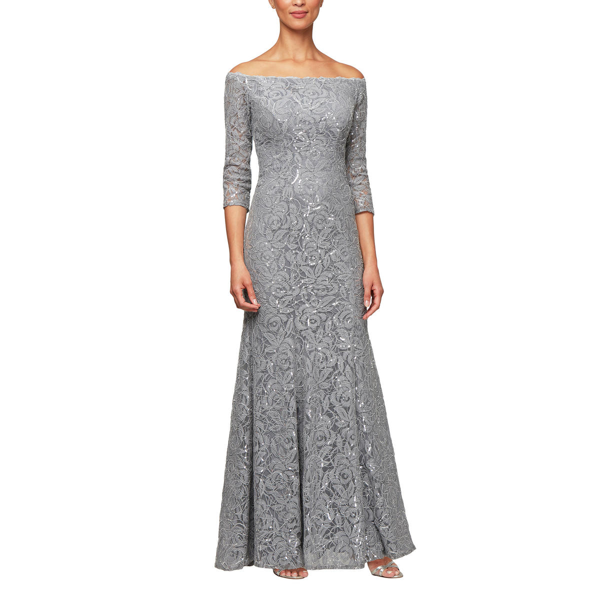 ALEX APPAREL GROUP INC - Long Sleeve Off Shoulder Lace gown