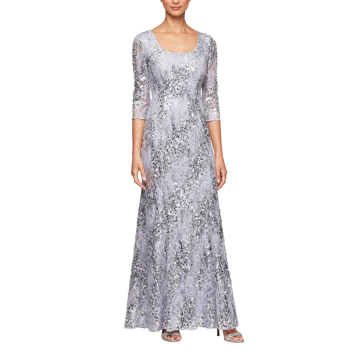 ALEX APPAREL GROUP INC - Lace Sequin A-Line Gown