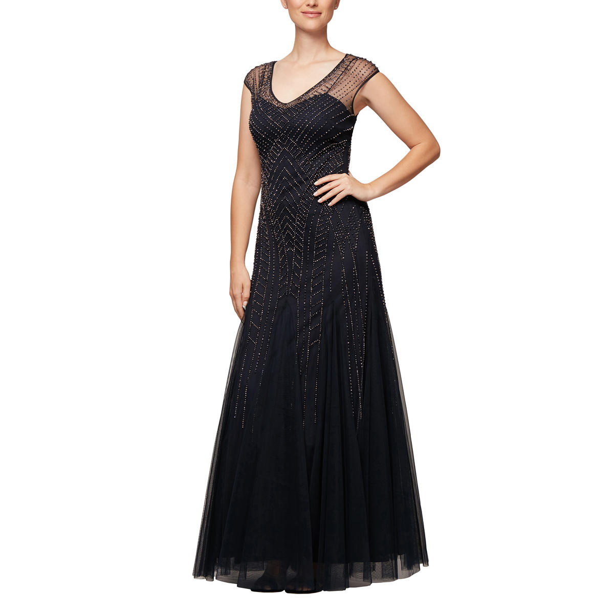 ALEX APPAREL GROUP INC - Sheer Beaded Gown