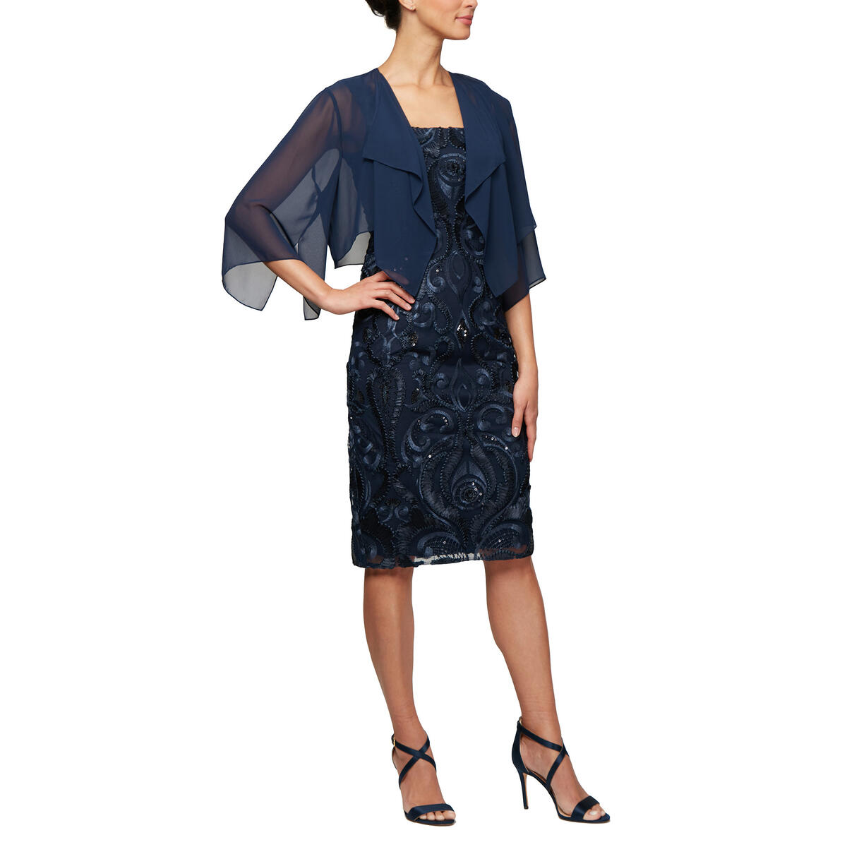ALEX APPAREL GROUP INC - 2 Piece Sequin Dress/Chiffon Jacket