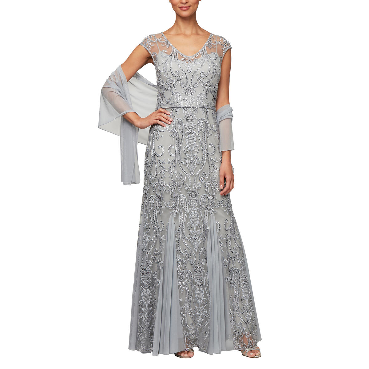 ALEX APPAREL GROUP INC - Sheer Embroidered Sequin Gown-Shawl