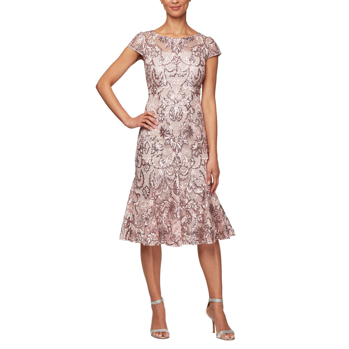 ALEX APPAREL GROUP INC - Mesh Embroidered Dress-Cap Sleeve