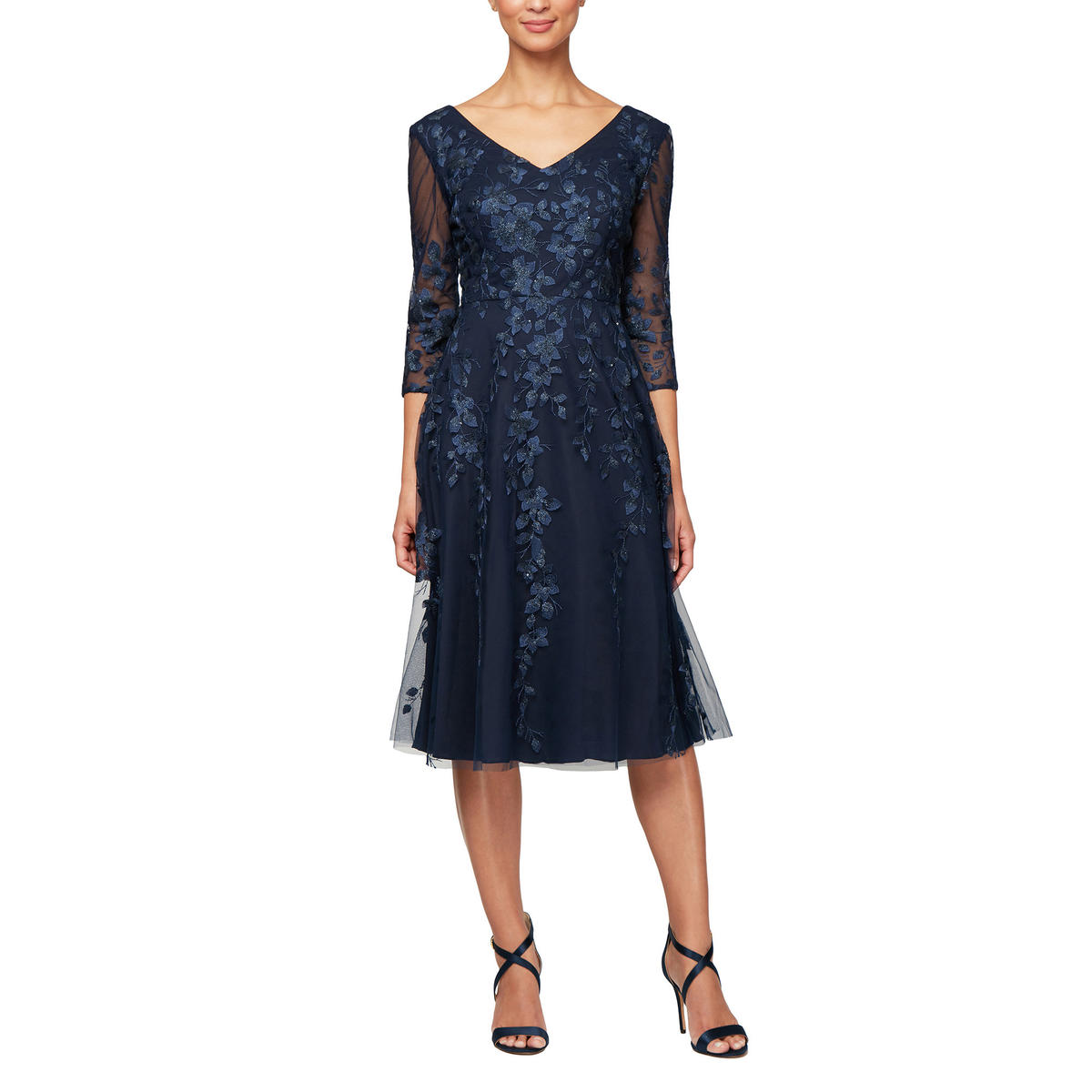 ALEX APPAREL GROUP INC - Long Sleeve Embroidered Lace Dress