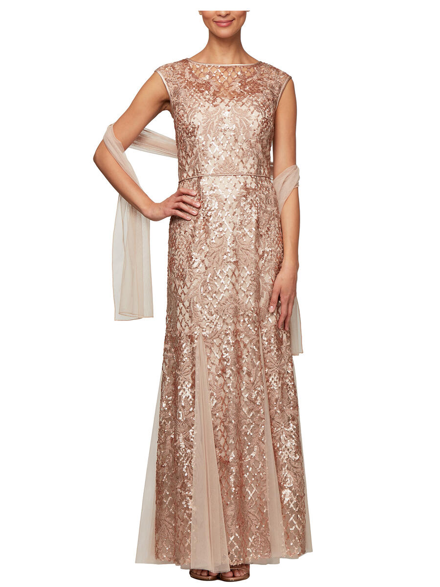 ALEX APPAREL GROUP INC - Sheer Embroidered Sequin Gown-Shawl 8117869