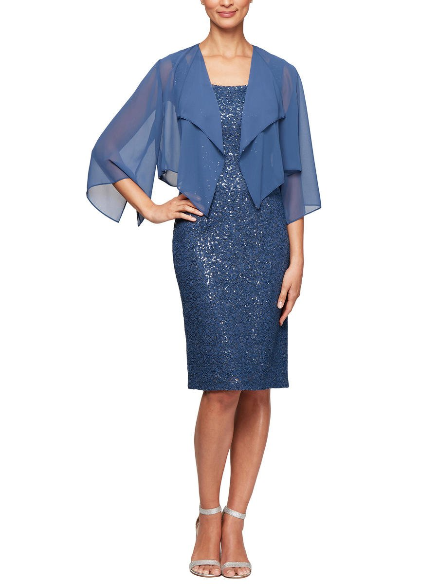 ALEX APPAREL GROUP INC - 2 Piece Lace Sequin Dress-Chiffon Jacket