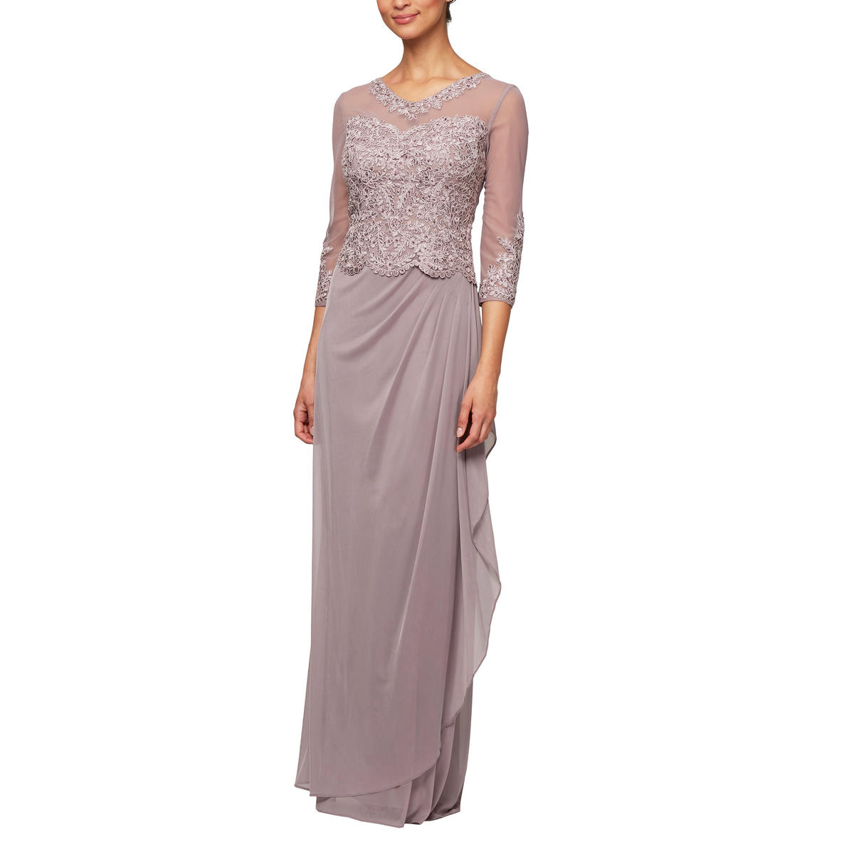 ALEX APPAREL GROUP INC - Long Sleeve Mock Top Chiffon Gown