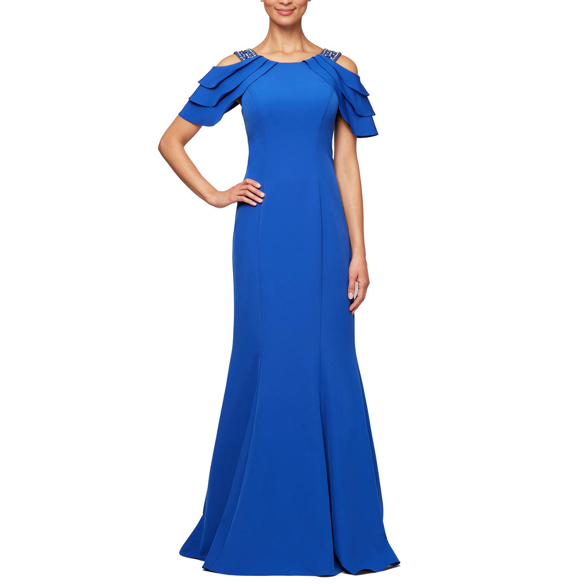 ALEX APPAREL GROUP INC - Satin Gown-Beaded Off Shoulder