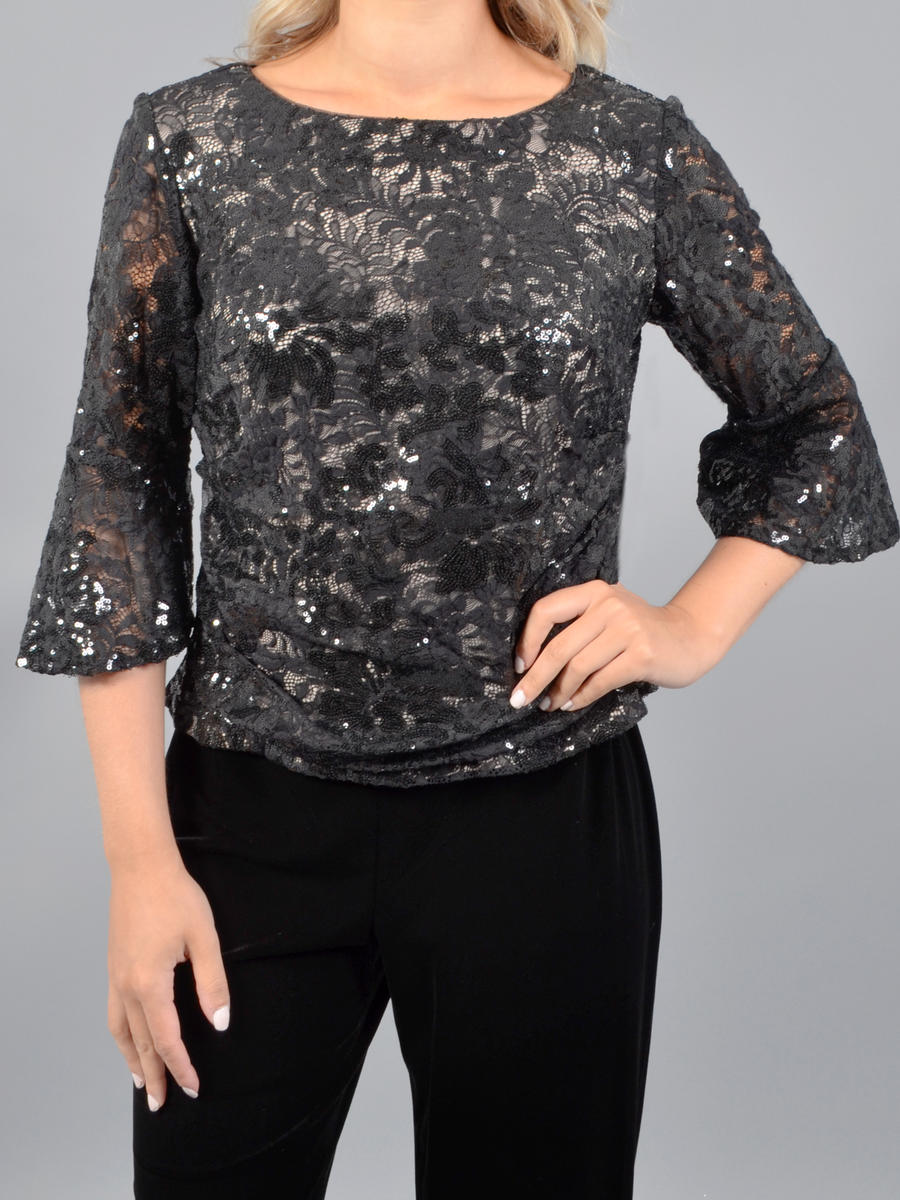 ALEX APPAREL GROUP INC - Long Sleeve Sequin Lace Top
