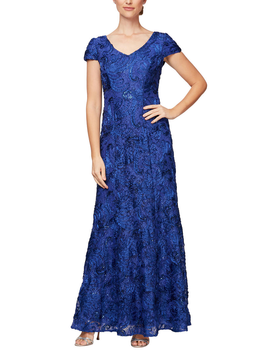 ALEX APPAREL GROUP INC - Short Sleeve Soutache Gown