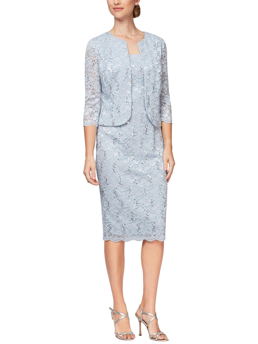 ALEX APPAREL GROUP INC - 2 Piece Metallic Lace Dress/Jacket