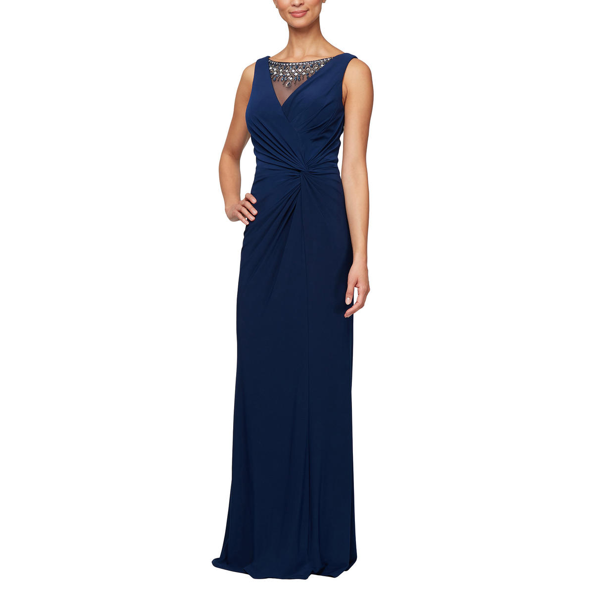 ALEX APPAREL GROUP INC - Jersey Wrap Gown-Bead Neck