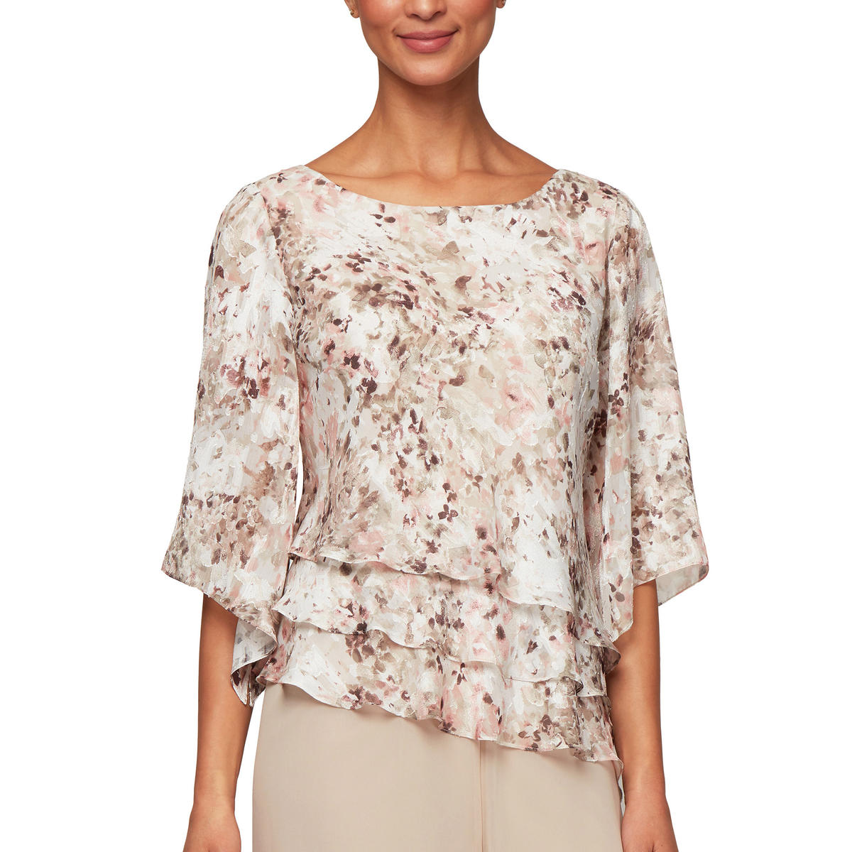 ALEX APPAREL GROUP INC - 3/4 Sleeve Print Blouse
