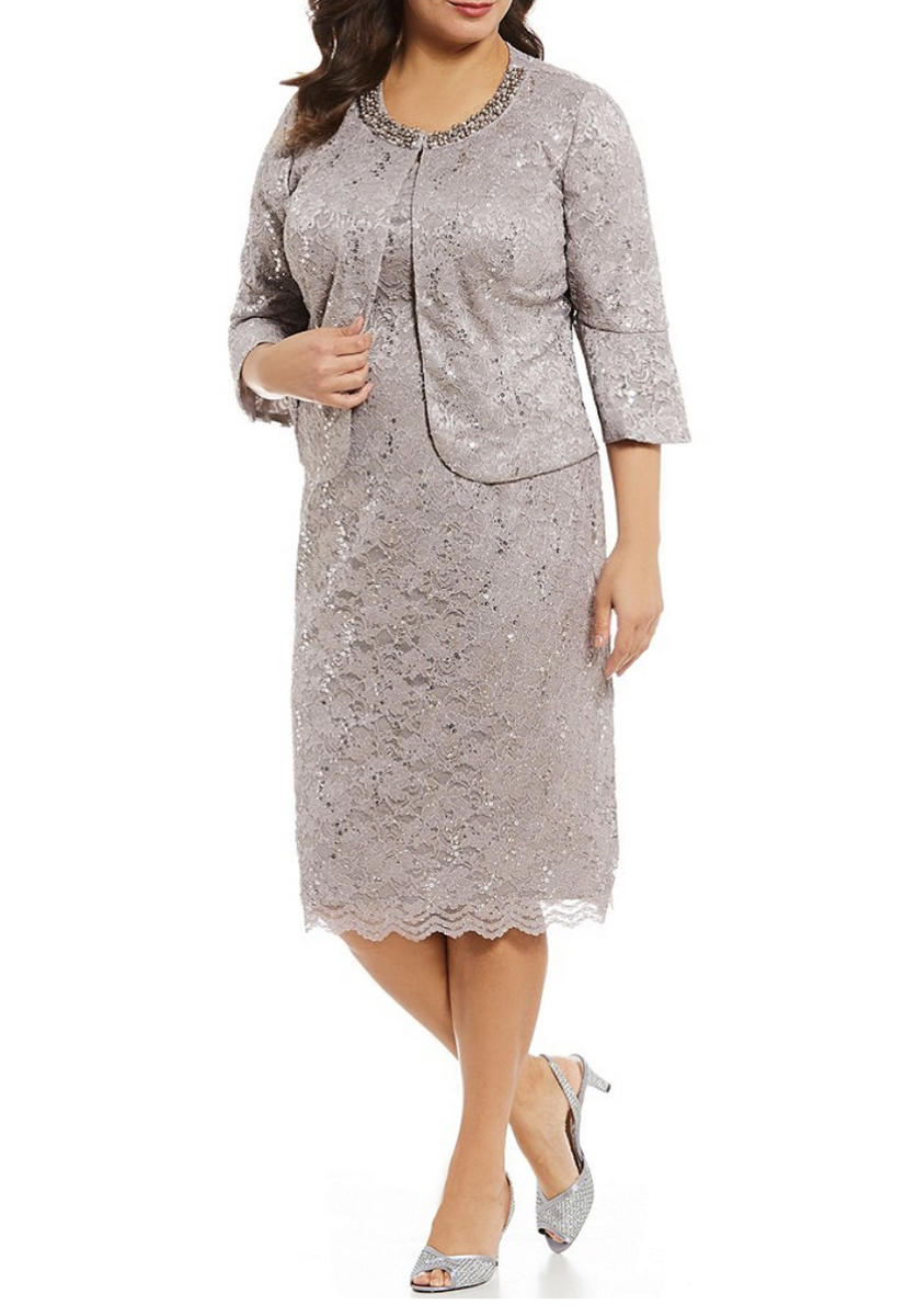 ALEX APPAREL GROUP INC - Plus Size Metallic Lace Sheath Dress with Jacket