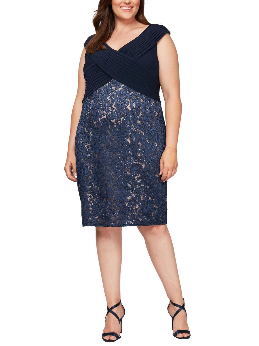 ALEX APPAREL GROUP INC - Metallic Lace Floral Jersey Dress